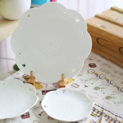 Round Platter Pure White Bone China Household Steak Dish - weM6ass2 image