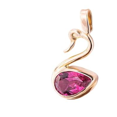 Rose Gold Pink Tourmaline  Swan Pendant  image