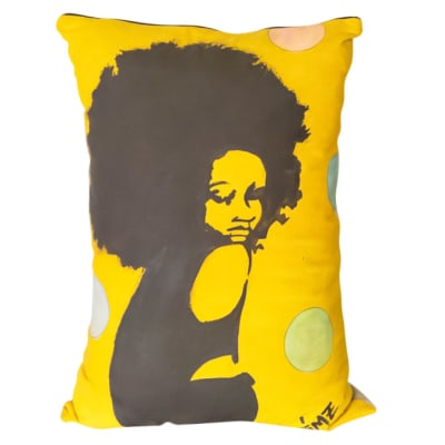 Pillow Sofa & Armchair Yellow Cushion with Drawing of a Lady image