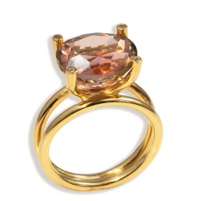 Split Shank Pink Tourmaline Yellow Gold Boat Ring  image