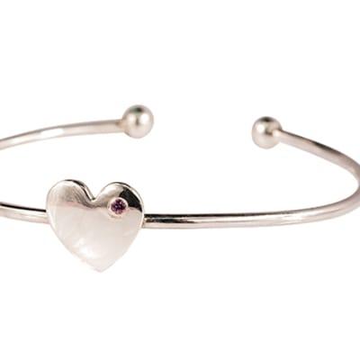 Silver Heart  Pink Tourmaline  Bangle image
