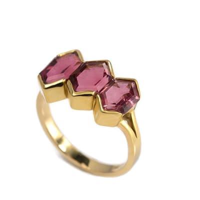 Yellow Gold Pink Tourmaline  Zig Zag Ring image