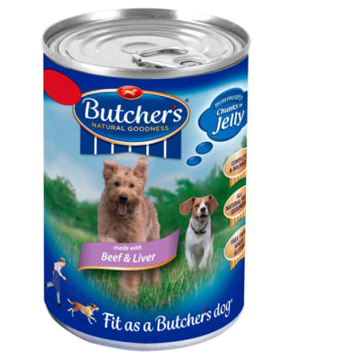 Dog Food -Butcher's Beef & Liver Chunks in Jelly Dog Food Tin 400g image
