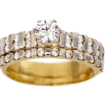 Princess Cut Multi-Row Gold Wedding Ring Set image