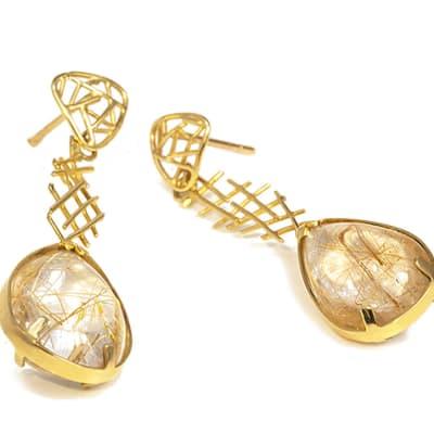 Wire Work  Quartz Drop Earrings image
