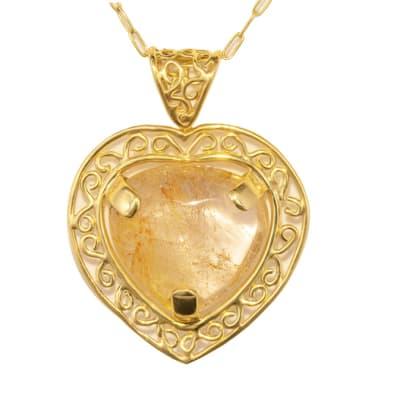 Yellow Gold  Rutile Quartz  Heart Pendant  image