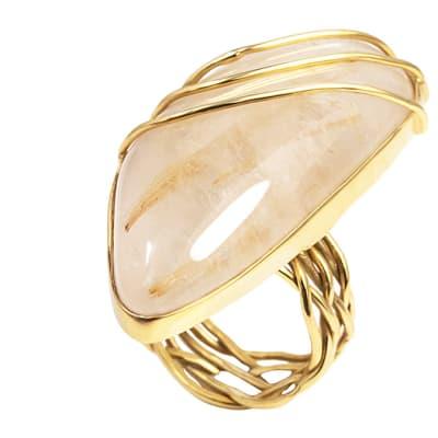 Yellow Gold Quartz  Wire Work Ring image