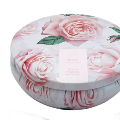 Face Care Rose Flower's Talcum Powder with Puff image