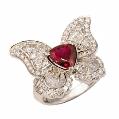 White Gold Rubellite Tourmaline  Butterfly Ring image