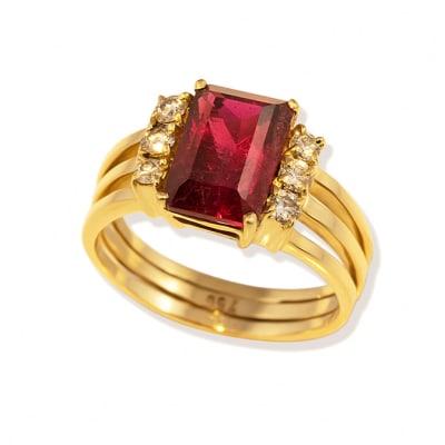 Yellow Gold Rubellite Tourmaline & Diamond  Ring  image