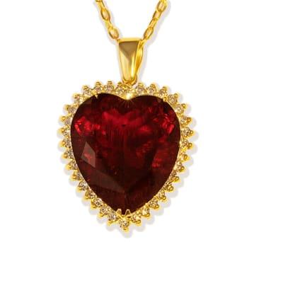 Rubellite Tourmaline  & Diamonds Heart Pendant image