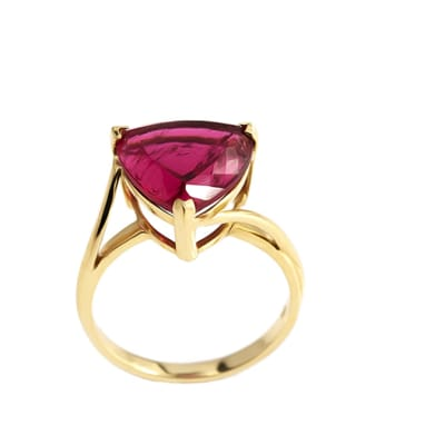 Yellow Gold Rubellite Tourmaline  Solitaire Ring  image