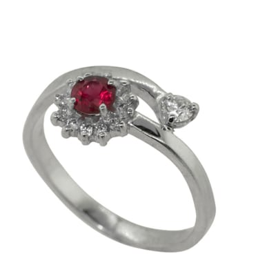 White Gold Ruby  Hill Ring  image