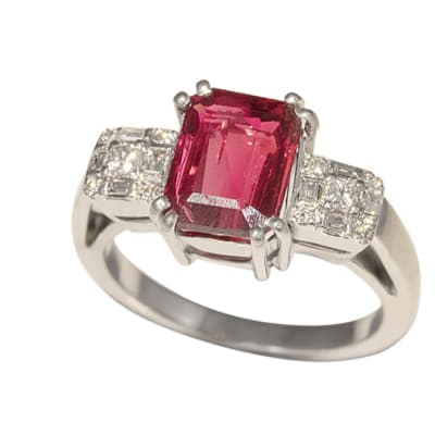 White Gold Ruby  Triology Ring  image