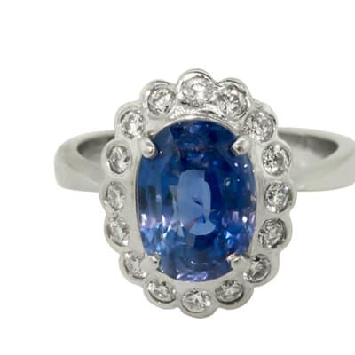 White Gold Sapphire  Flower Ring image