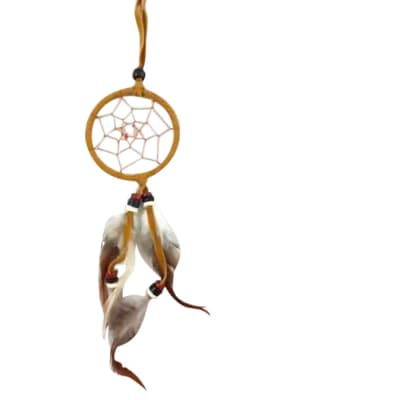 Wall Hanging Dreamcatcher Brown Single Feather 6cm  image