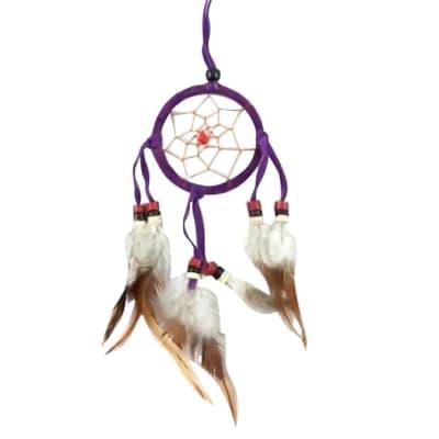 Wall Hanging  Dreamcatcher  Purple Triple Feather 6cm image