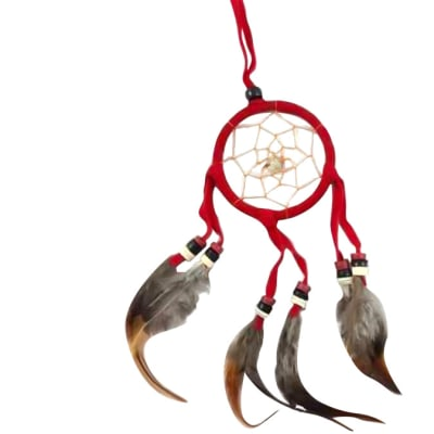 Wall Hanging  Dreamcatcher  Red Triple Feather 6cm image