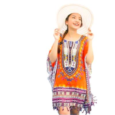 Kaftan Handcrafted from a Soft Rayon Orange Kaftan image