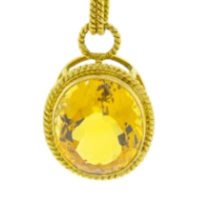 Oval Citrine  Yellow Gold Pendant image