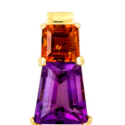 Fancy Cut  Amethyst & Citrine Yellow Gold Cage  image