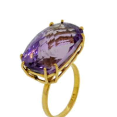 Double Claw Amethyst  Yellow Gold Cage Ring image