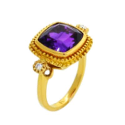 Trilogy  Amethyst  Yellow Gold Ring image