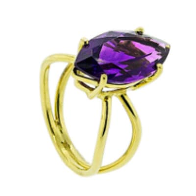 Marquise Amethyst Yellow Gold Cage Ring image