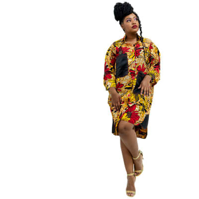 Shirt dress -Yellow with red prints and black pockets image