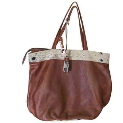 Shoulder Bag Genuine  Brown Leather Tote Bag image