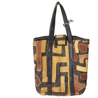 Shoulder Bag Kuba Cloth  Brown Print Handbag image