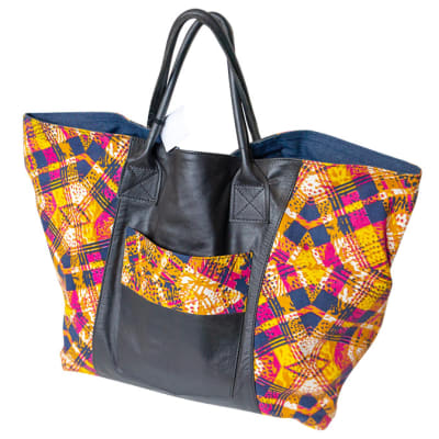 Shoulder Bag  Leather & Chitenge Yellow Black & Red image