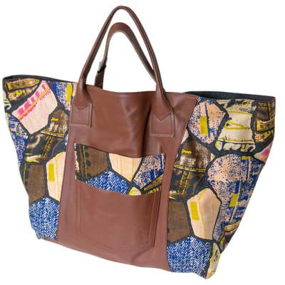 Shoulder Bag Leather & Denim Casual Leather & Chitenge Brown and Blue Patchwork   image
