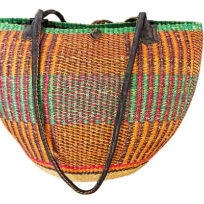 Shoulder Bag Orange & Green Handwoven Basket image