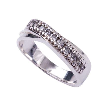 Silver  Cubic Zircon Bridal Crossover Ring image