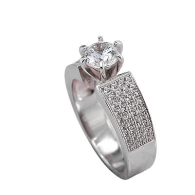 Silver Cubic Zirconia  Bridal Dress Ring image