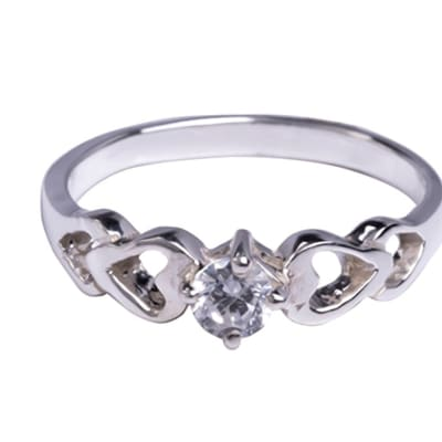 Silver   Cubic Zironia Bridal Heart Solitaire  image