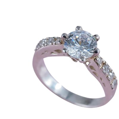 Silver  Cubic Zirconia  Bridal Pinched Shoulder Ring image