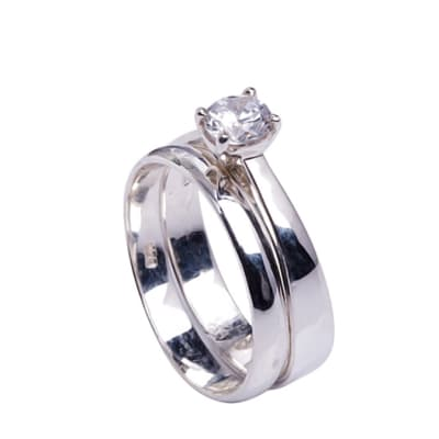 Silver   Cubic Zirconia  Bridal Set image