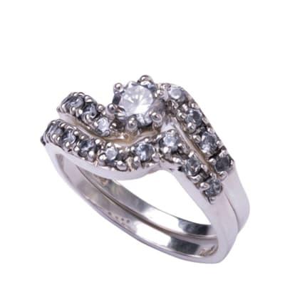 Silver Cubic Zirconia  Swirl Bridal Set image