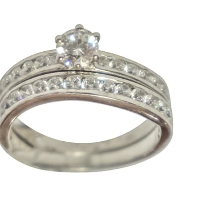 Silver Wedding Set Ring TRG-258 image