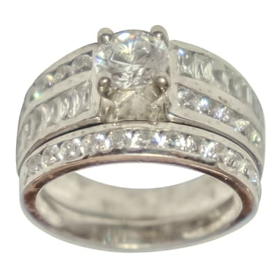 Silver Wedding Set Ring TRG-300 image
