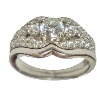 Silver Wedding Set Ring TRG-317 image
