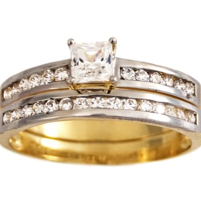 Single Square Princess Cut Gold Wedding Ring Set  image