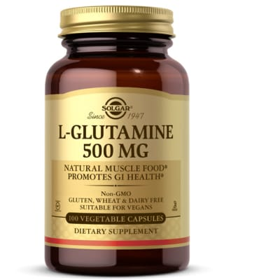 L-Glutamine 500 Mg  Natural Muscle Food Promotes Gi Health 50 Capsules image