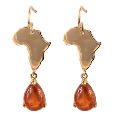 Yellow Gold Spessartite  Africa Earrings image
