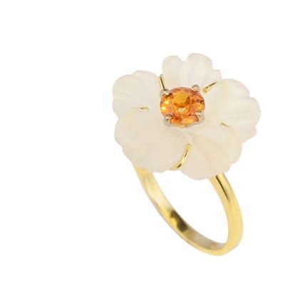 Yellow & White Gold  Quartz & Spessartite  Flower Ring image
