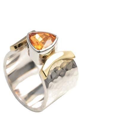 Yellow Gold Spessartite  Silver Bezel Ring image
