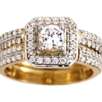 Square Halo Bridal Set Gold Wedding Ring  image