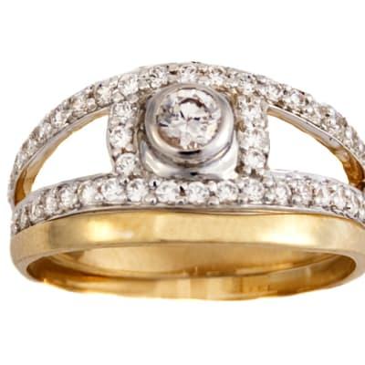 Split Shank Bridal Set Gold Wedding Ring  image